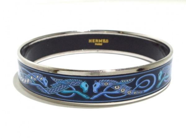 HERMES(エルメス) バングル美品  エマイユ 金属素材 シルバー×黒×ブルー