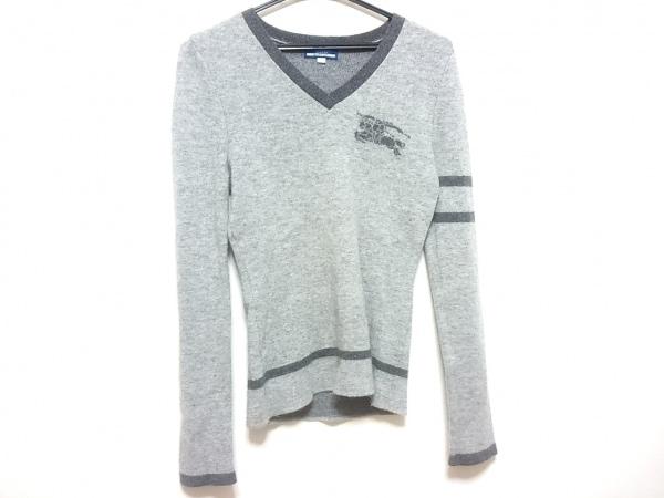 バーバリーブルーレーベル 長袖セーター サイズ38 M レディース グレー×ダークグレー