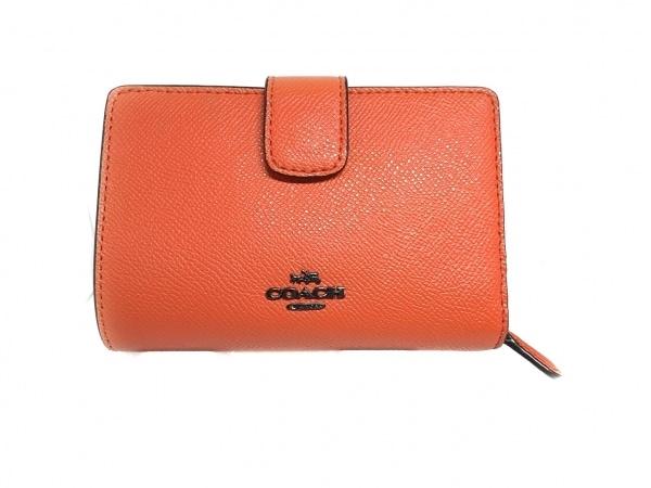 COACH(コーチ) 2つ折り財布美品  - オレンジ パスケース付き レザー