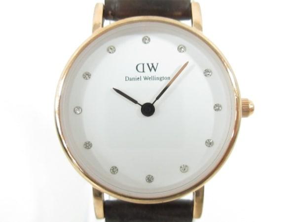 ダニエルウェリントン 腕時計美品  B26R1 レディース 革ベルト/ラインストーン文字盤