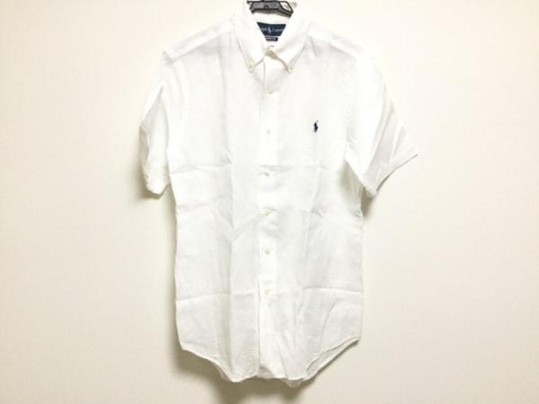 ポロラルフローレン 半袖シャツ サイズS メンズ美品  白 ボタンダウン/リネン