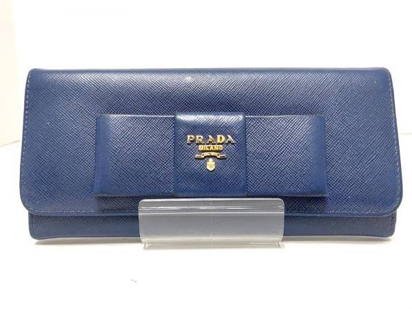 PRADA(プラダ) 長財布 - 1M1132 ネイビー リボン サフィアーノレザー