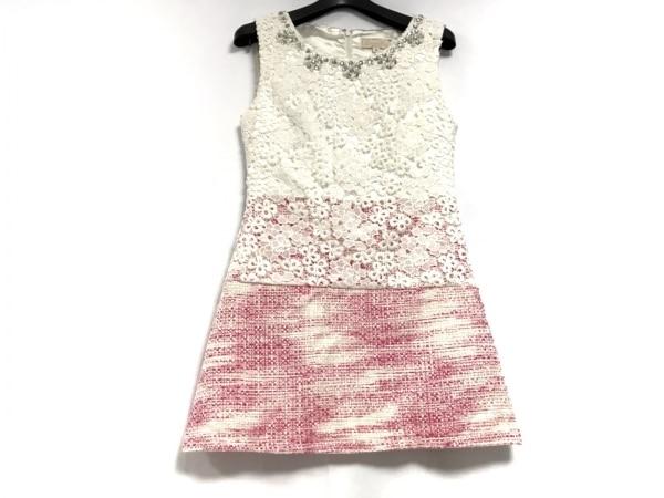エミリアウィズ ワンピース サイズS レディース美品  ピンク×アイボリー ビジュー