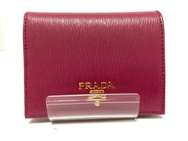 PRADA(プラダ) 2つ折り財布美品  - 1MV204 ピンク ヴィッテロムーヴレザー