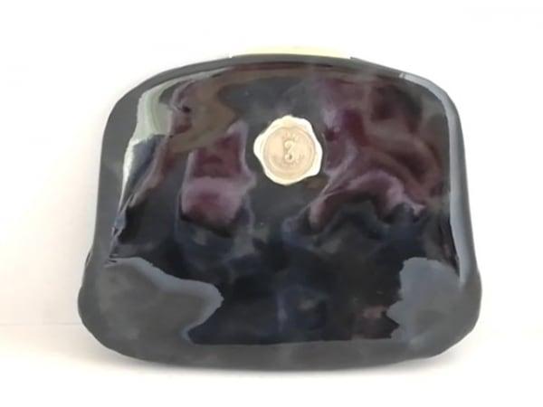 サンヒデアキミハラ カードケース 黒×ダークグレー がま口 PVC(塩化ビニール)