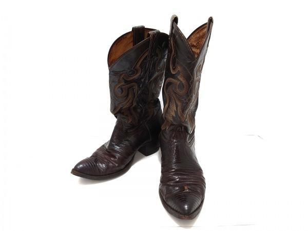 Tony Lama(トニーラマ) ブーツ 9 メンズ ダークブラウン×アイボリー レザー