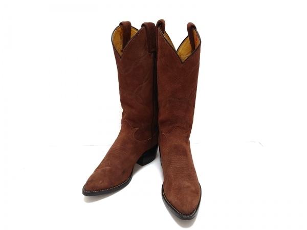 Tony Lama(トニーラマ) ブーツ 5 1/2 メンズ美品  ダークブラウン 刺繍 スエード