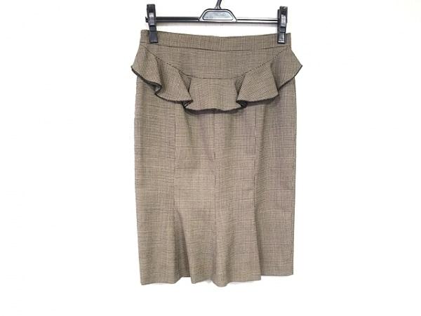 MOSCHINO(モスキーノ) スカート サイズI40 M レディース美品  ベージュ×黒 千鳥格子