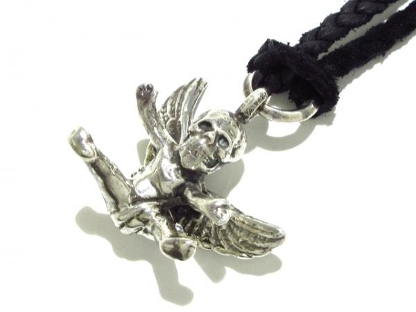 クロムハーツ ネックレス美品  フォティ ミスラーレン シルバー×化学繊維 黒