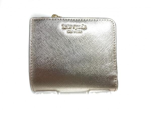 ケイトスペード 2つ折り財布美品  WLRU5431 ゴールド L字ファスナー/パスケース付き