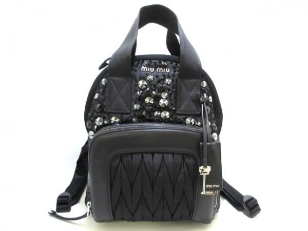 ミュウミュウ リュックサック美品  ビジューサック バックパック 5BZ005 黒 ビジュー