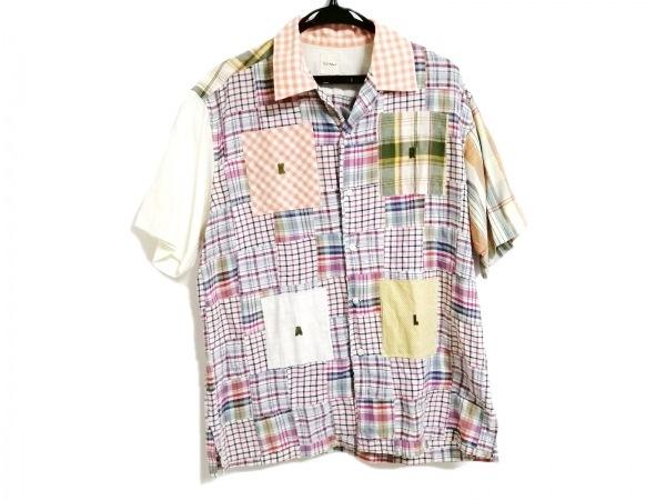 カールヘルム 半袖シャツ サイズM メンズ 白×オレンジ×マルチ チェック柄
