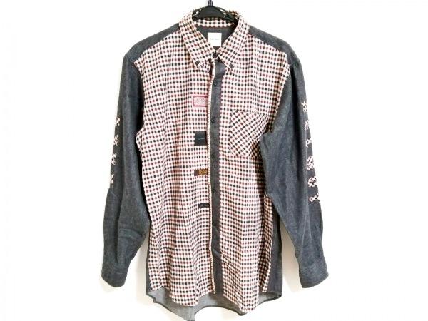 カールヘルム 長袖シャツ サイズM メンズ 白×黒×ダークブラウン チェック柄