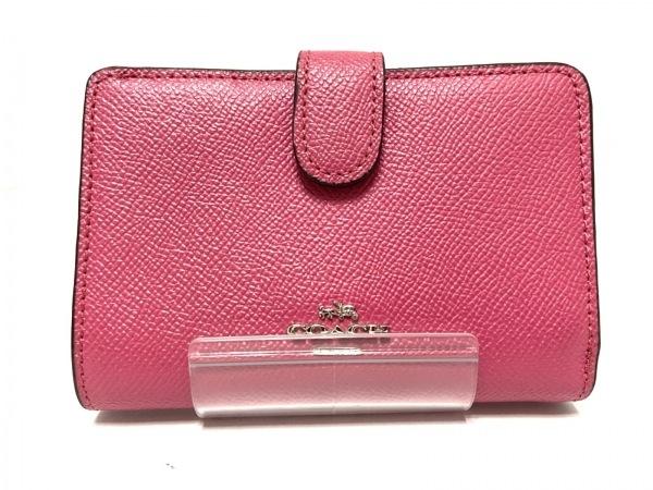 コーチ 2つ折り財布 ミディアム コーナー ジップウォレット F11484 ピンク レザー