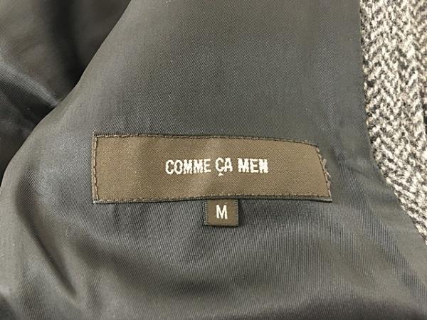 COMME CA MEN(コムサメン) コート サイズM メンズ グレー×黒 ジップアップ/冬物