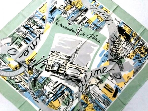 CELINE(セリーヌ) スカーフ ライトグリーン×グレー×マルチ