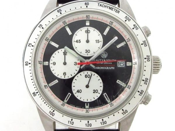 ビューティ&ユース 腕時計 0510-50642288 メンズ 革ベルト/クロノグラフ 黒×シルバー