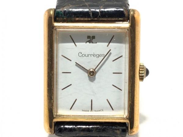 COURREGES(クレージュ) 腕時計 レディース 革ベルト 白