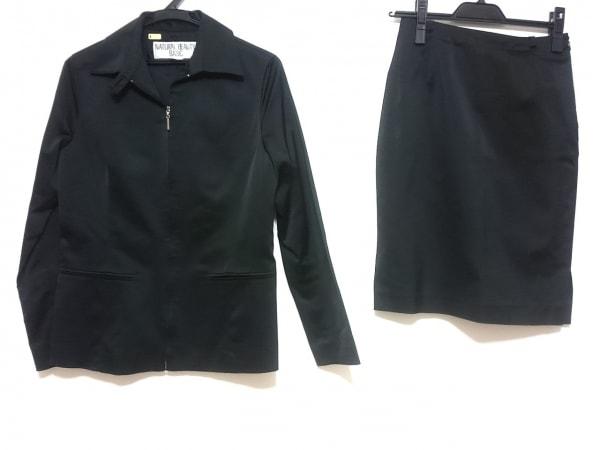 ナチュラルビューティー ベーシック スカートスーツ レディース 黒 ジップアップ