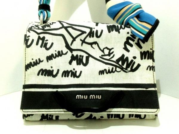 miumiu(ミュウミュウ) ハンドバッグ - ライトグレー×黒×マルチ コットン×スエード