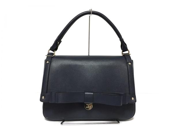 Maison de FLEUR(メゾンドフルール) ハンドバッグ美品  ネイビー リボン 合皮