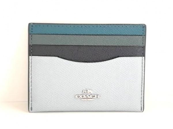 COACH(コーチ) カードケース美品  - F1792 ライトブルー×黒×マルチ レザー