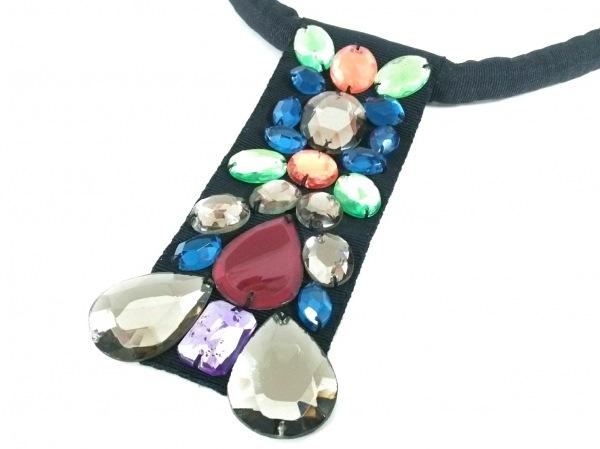 ケンゾー ネックレス美品  ナイロン×化学繊維×ラインストーン 黒×ブロンズ×マルチ