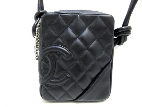 CHANEL(シャネル) ショルダーバッグ美品  カンボンライン 黒 ミニサイズ ラムスキン