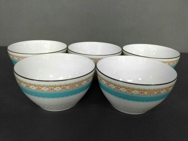 Noritake(ノリタケ) 食器新品同様  白×ライトブルー×マルチ 茶碗×5 陶器