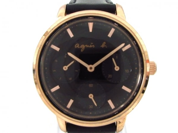 agnes b(アニエスベー) 腕時計 VD75-KGZO レディース 革ベルト/クロノグラフ 黒