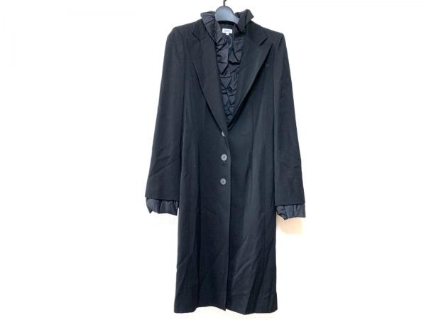 FOXEY(フォクシー) コート サイズ40 M レディース 黒 秋物/フリル襟・袖、着脱可