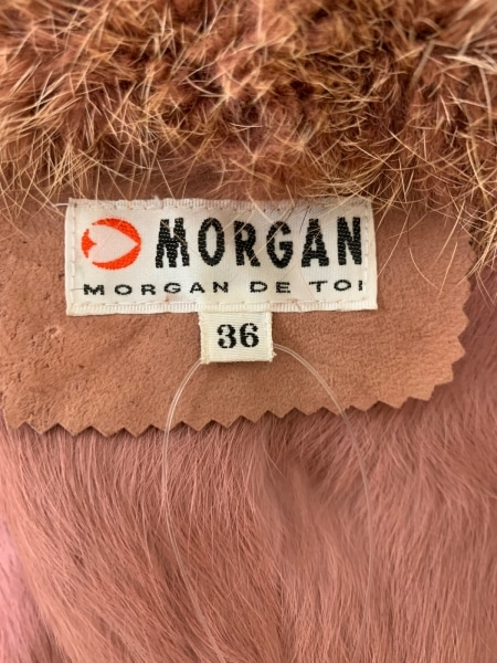 MORGAN(モルガン) コート サイズ36 S レディース ピンク×マルチ レザー/ファー