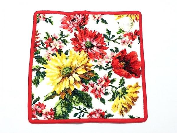 FEILER(フェイラー) ハンカチ新品同様  白×レッド×マルチ 花柄 1