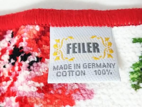 FEILER(フェイラー) ハンカチ新品同様  白×レッド×マルチ 花柄 4