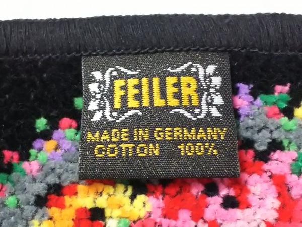 FEILER(フェイラー) ハンカチ新品同様  グレー×黒×マルチ 花柄 4