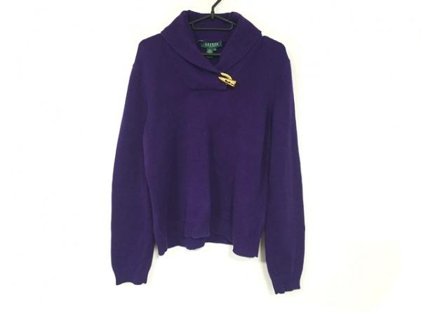 ラルフローレン 長袖セーター サイズP/L レディース美品  パープル×ゴールド