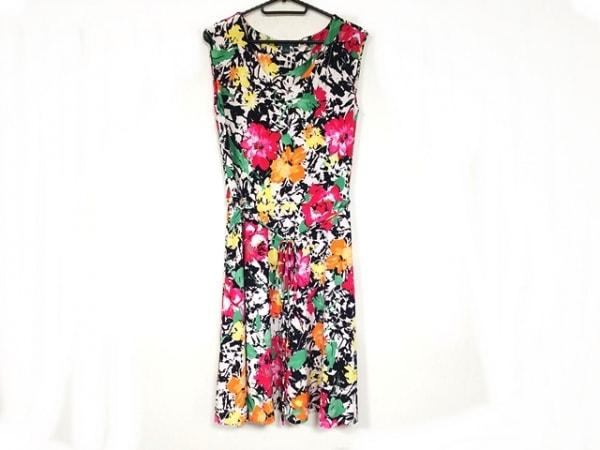 ラルフローレン ワンピース サイズS レディース美品  白×ピンク×マルチ 花柄
