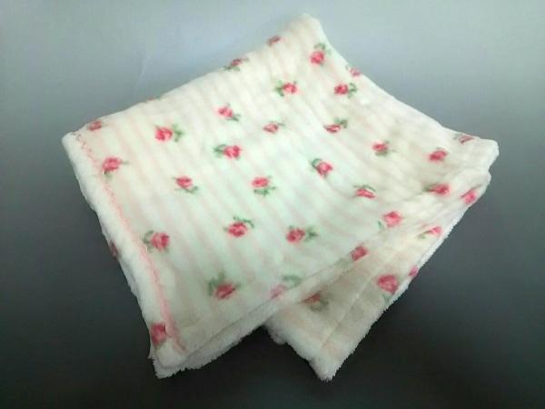 ローラアシュレイ ブランケット美品  アイボリー×ピンク×グリーン ボーダー/花柄