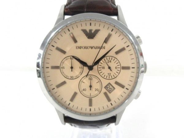 アルマーニ 腕時計 AR2433 メンズ クロノグラフ/型押し革ベルト ベージュ