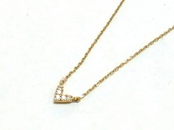 AHKAH(アーカー) ネックレス美品  K18YG×ダイヤモンド 5Pダイヤ/ハート
