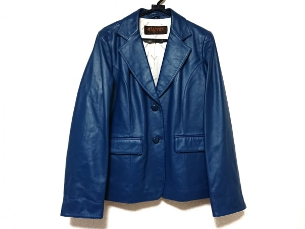 BALMAIN(バルマン) ジャケット サイズ13 L レディース美品  ネイビー レザー