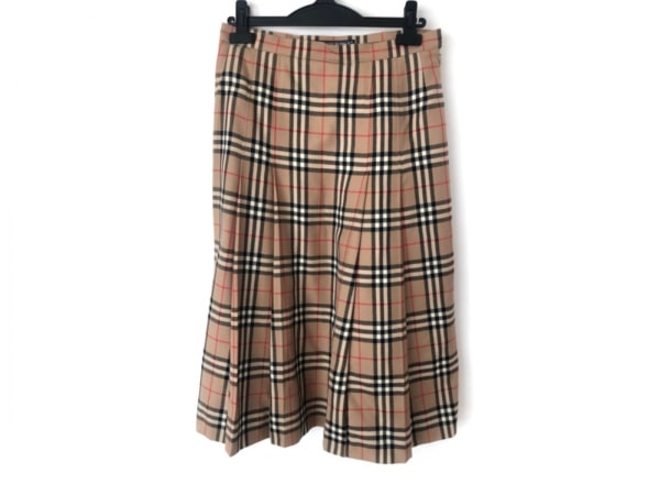 バーバリーズ スカート サイズ13 L レディース美品  ベージュ×黒×レッド