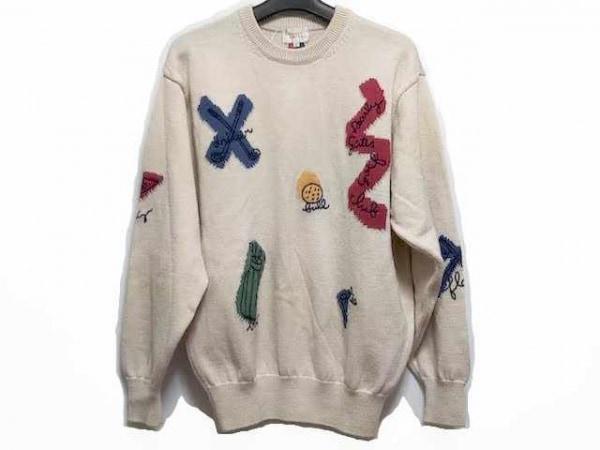 パーリーゲイツ 長袖セーター サイズF レディース ベージュ×レッド×マルチ