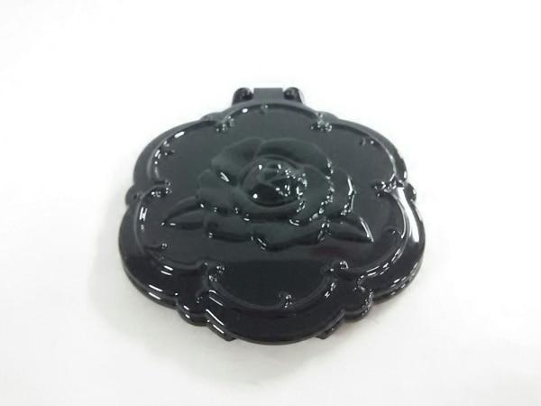 ANNA SUI(アナスイ) ミラー美品  シルバー×黒 フラワー ガラス×プラスチック