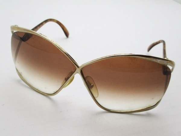 クリスチャンディオール サングラス 2056 ブラウン×ゴールド 金属素材×プラスチック