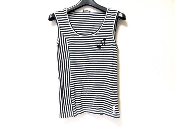 アルマーニジーンズ ノースリーブTシャツ レディース 黒×白 ボーダー/ラインストーン