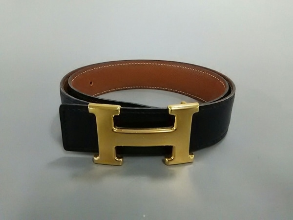 エルメス ベルト 70 Hベルト 黒×ゴールド 新型/ゴールド金具 レザー×金属素材