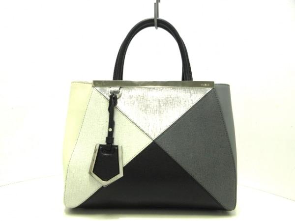 フェンディ ハンドバッグ プチトゥージュール 8BH253 グレー×黒×マルチ レザー