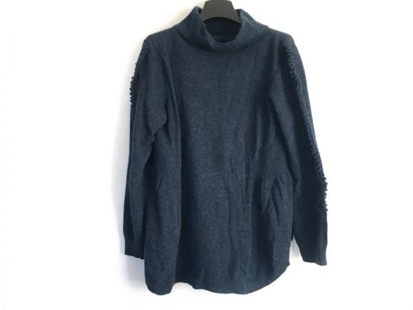 ヒロコビス 長袖セーター サイズ11 M レディース ダークネイビー タートルネック