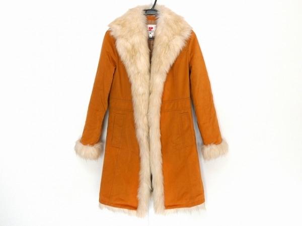クレージュ コート サイズ38 M レディース美品  オレンジ×白 冬物/フェイクファー